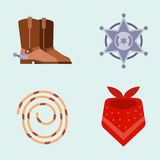 Wild west elements set icons cowboy rodeo equipment and different accessories vector illustration. Stock Photo