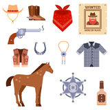 Wild west elements set icons cowboy rodeo equipment and different accessories vector illustration. Royalty Free Stock Photo