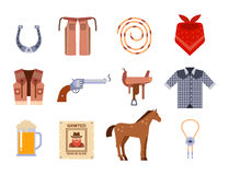 Wild west elements set icons cowboy rodeo equipment and different accessories vector illustration. Royalty Free Stock Photography