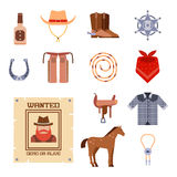 Wild west elements set icons cowboy rodeo equipment and different accessories vector illustration. Royalty Free Stock Images