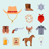 Wild west elements set icons cowboy rodeo equipment and different accessories vector illustration. Stock Images