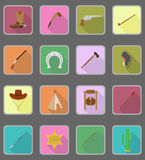 Wild west flat icons vector illustration Stock Photography