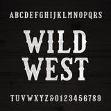 Wild West font. Vintage alphabet. Wood texture letters. Royalty Free Stock Photos
