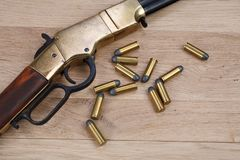 Wild west gun with rounds royalty free stock images