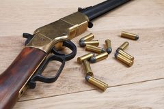 Wild west gun with rounds royalty free stock photos