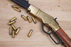 Wild west gun with rounds stock photos