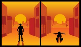 Wild west gunslinger. Background the city and desert. Color flat. Wild west gunslinger. The shootout process of a cowboy is holding hands on pistols and and lies Stock Photography