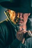 Wild West Gunslinger. Frantic looking wild west gunslinger Royalty Free Stock Image