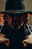 Wild West Gunslinger. Frantic looking wild west gunslinger Stock Photo