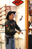 Wild West Gunslinger, SHOT Show 2011. A Wild West style cowboy action gunslinger demonstrates his skill at the annual SHOT Show in Las Vegas, Nevada royalty free stock photo
