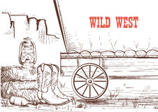 Wild west hand draw background with cowboy boots and western wa Royalty Free Stock Photography