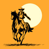 Wild west hero, cowboy silhouette riding horse Stock Photos