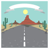 Wild west. Highway in Monument Valley with stripe for text Royalty Free Stock Photo