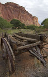 Wild West Horse-Cart. Antique Wooden Cart with Cast Iron Wheels Royalty Free Stock Photography