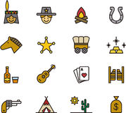 Wild west icon set. This is a set of outlined and colored icons related to Wild West Stock Image