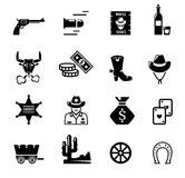 Wild west icons. Black logo on the white background.  Cowboy life. vector illustration Royalty Free Stock Photography