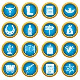 Wild west icons blue circle set. Wild west set design logo. Simple illustration of 16 wild west logo vector icons blue circle set isolated on white for digital Stock Illustration