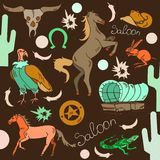 Wild west icons. Of horse, skull, cactus, wagon, lizard, scavenger Stock Illustration