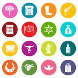 Wild west icons many colors set Royalty Free Stock Photo