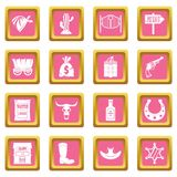 Wild west icons pink. Wild west set design logo. Simple illustration of 16 wild west logo vector icons set in pink color isolated vector illustration for web and Stock Photo