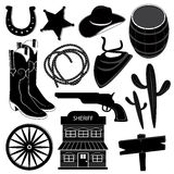 Wild West Icons Set Stock Images