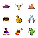 Wild west icons set, cartoon style. Wild west icons set. Cartoon illustration of 9 wild west vector icons for web Royalty Free Stock Images
