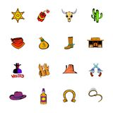 Wild West icons set cartoon Royalty Free Stock Image