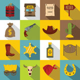 Wild west icons set design logo, flat style. Wild west set design logo. Flat illustration of 16 wild west logo vector icons for web Stock Images