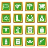 Wild west icons set green. Wild west set design logo. Simple illustration of 16 wild west logo vector icons set in green color isolated vector illustration for Stock Images