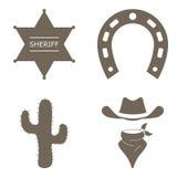 Wild west icons set, isolated vector illustration. Stock Photo