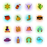 Wild West icons set. In pop art style  on white Stock Photography