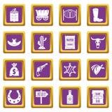 Wild west icons set purple Stock Photo