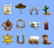 Wild West Icons Set. Wild west realistic icons set with cowboy hat dynamite and cactus on blue background  vector illustration Stock Photo