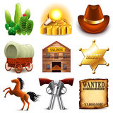 Wild west icons vector set Royalty Free Stock Image