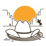 Wild West illustration with cowboy western hat on American desert royalty free illustration