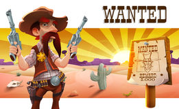 Wild west landscape with cool cowboy. Royalty Free Stock Photo