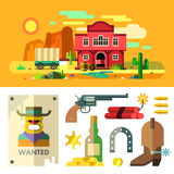 Wild West landscape, icons and objects. Flat. Royalty Free Stock Photography