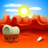Wild west landscape with old wagon vector Stock Photography