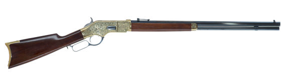 Wild West Lever Action Rifle Engraved Isolated on White Backgrou Royalty Free Stock Photography