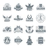 Wild west logo icons set, simple style Royalty Free Stock Photography