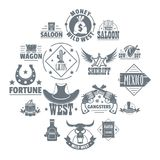 Wild west logo icons set, simple style. Wild west logo icons set. Simple illustration of 16 wild west logo vector icons for web Royalty Free Stock Photos