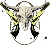 Wild West Mascot. Mascot of the Wild West with bison skull with revolvers and lasso royalty free illustration
