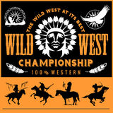 Wild West. Native american chief head illustration. Design elements for logo, label, emblem,sign. Stock Images