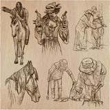 Wild West and Native Americans - An hand drawn vector pack. Line Stock Photo
