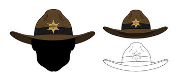 Wild west old fashion sheriff hat. Vector clip art color and contour lines illustrations isolated on white Stock Photo