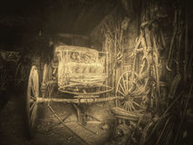 Wild west. Old passenger cart. Vintage - Wooden Wagon, United States. royalty free stock images