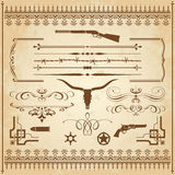 Wild West Ornaments. A collection of Wild West ornament, with frames, rulers, angle ornaments and cliparts Stock Photography