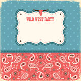 Wild west party card for text.Vector color background Stock Photos