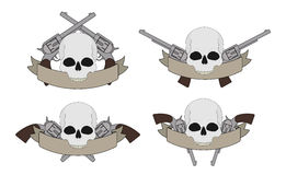Wild west pistols and skull banners Stock Photo