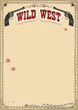 Wild West poster background with revolvers and text on old paper Stock Photo